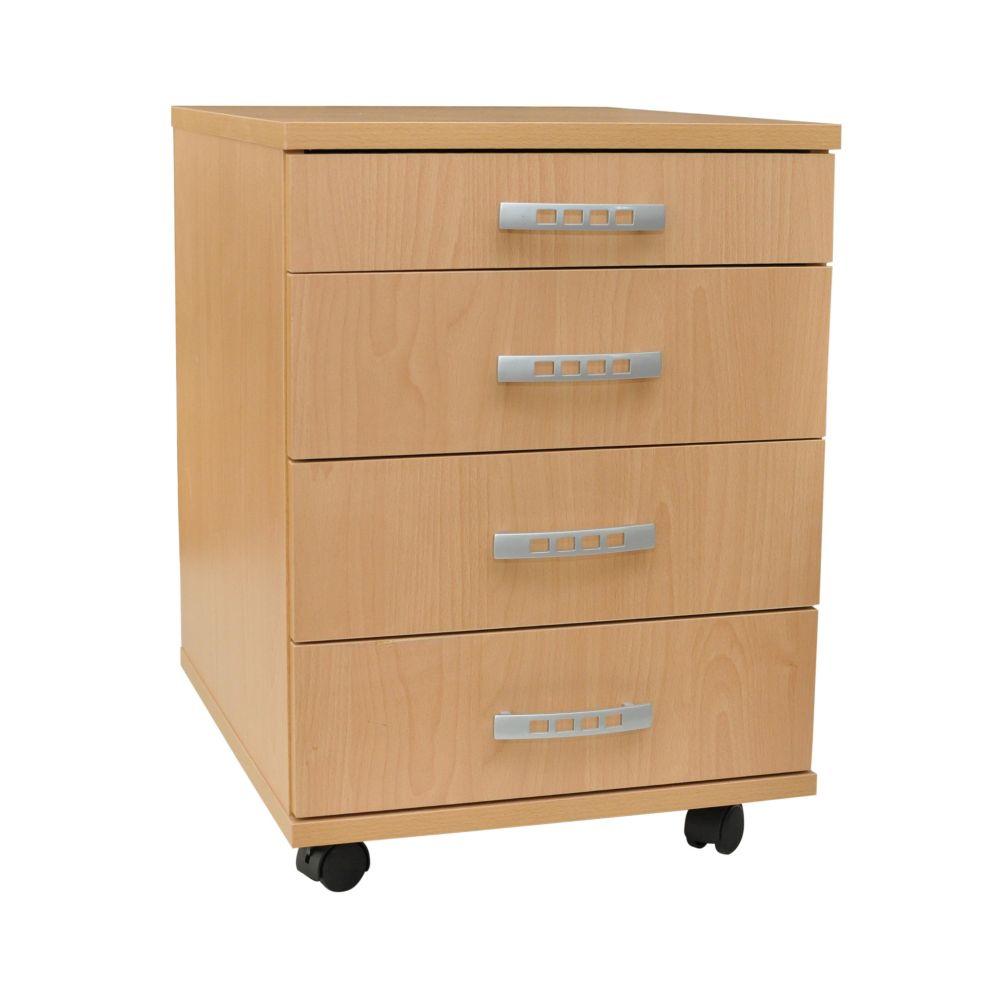 rollcontainer melamin buche 4 schubladen 4 rollen 2 mit rollenbremse ebay. Black Bedroom Furniture Sets. Home Design Ideas