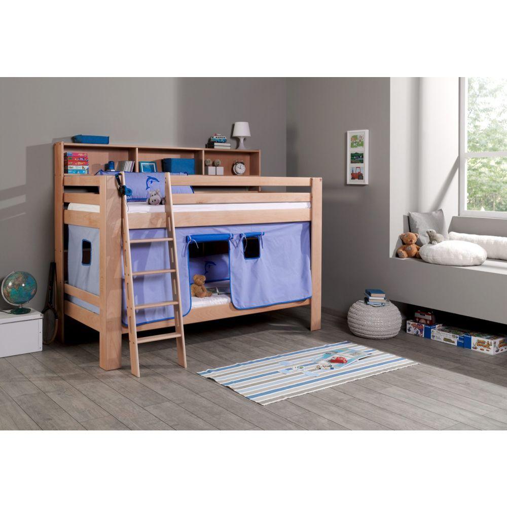 etagenbett jan buche mit regal vorhang blau delfin neu ovp ebay. Black Bedroom Furniture Sets. Home Design Ideas