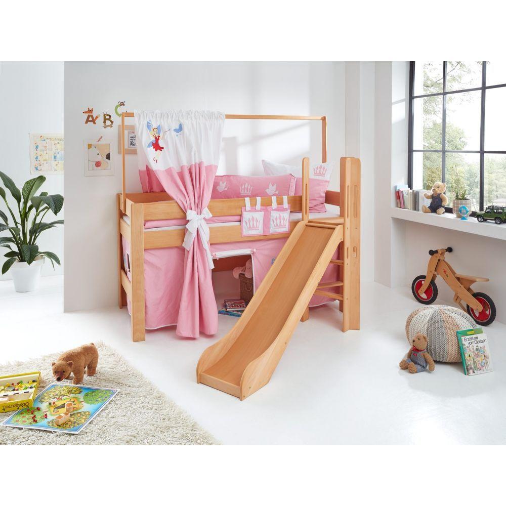 spielbett leo buche massiv rutsche leiter ber eck 90x200cm prinzessin. Black Bedroom Furniture Sets. Home Design Ideas