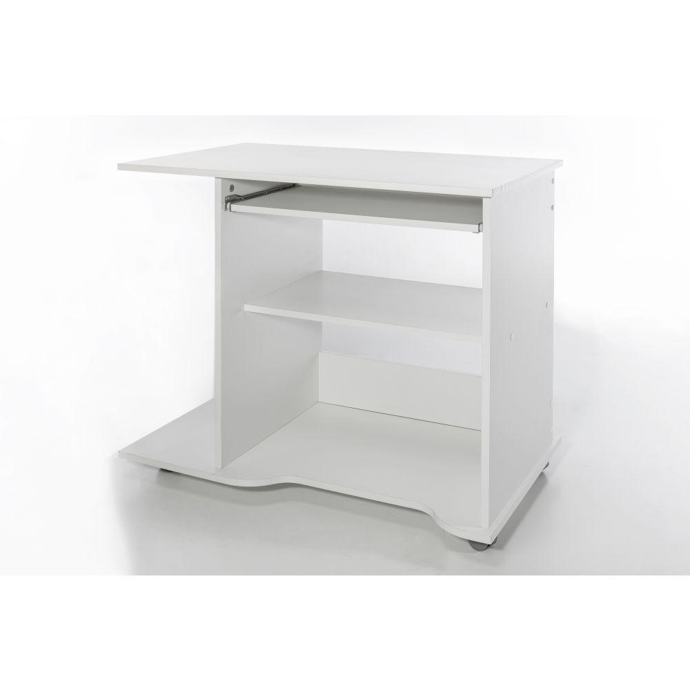 pc tisch computertisch weiss auf rollen neu ovp ebay. Black Bedroom Furniture Sets. Home Design Ideas