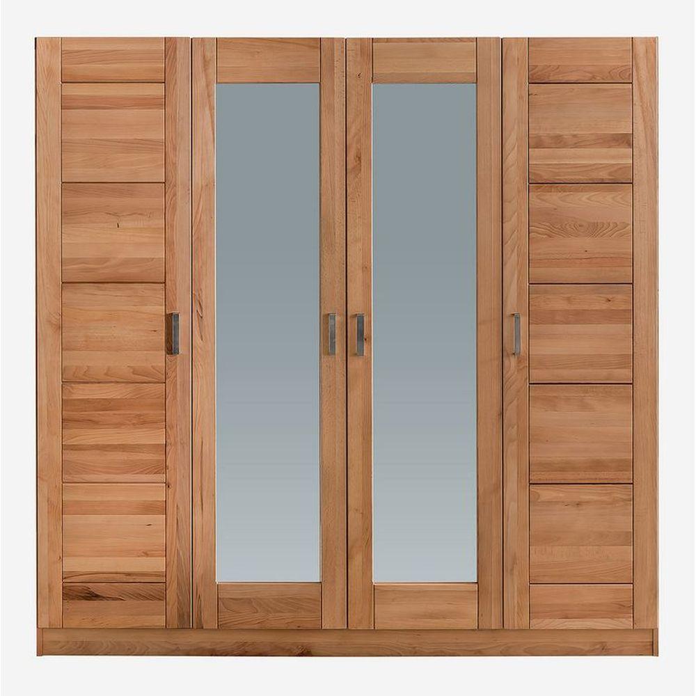 moderner kleiderschrank tollow 4 trg kernbuche massiv mit spiegel neu ebay. Black Bedroom Furniture Sets. Home Design Ideas
