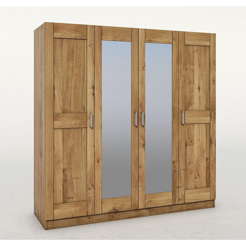 moderner kleiderschrank toni 4 trg wildeiche teilmassiv mit spiegel neu ebay. Black Bedroom Furniture Sets. Home Design Ideas